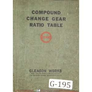 Compound Change Gear Ratio Table Manual Year (1950) Gleason Books