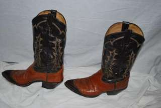 TONY LAMA LEATHER WESTERN COWBOY BOOTS 10D LIZARD TOE INSET STYLE 6951
