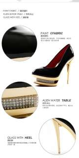 Luxury Crystal High Heels Platform Pumps Stiletto Shoes Patent Leather