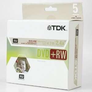 TDK DVD+RW 4.7 GB Rewritable DVD Media with Jewel Cases