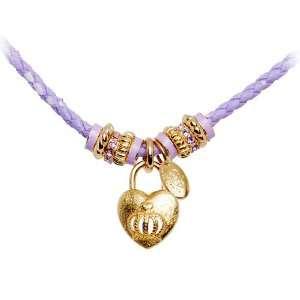 Tutti Frutti Purple Leather Crown Heart Locket Necklace