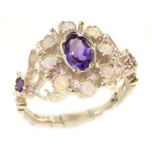 Unusual Solid Sterling Silver Natural Opal & Amethyst Ring