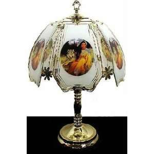 Colorful Indian Maiden & Wolf Touch Lamp ET NA5 Select Base Finish