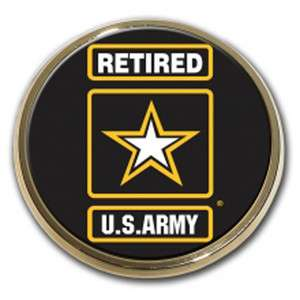 US Army Retired Star Logo Seal Emblem Real Metal Chrome Auto Decal