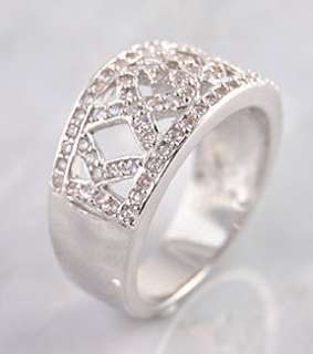 Sterling Silver Fancy Heart Cut White Ice CZ Band Ring