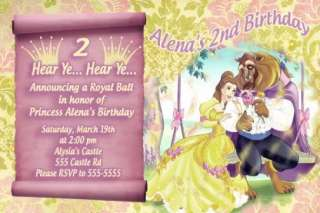 Princess Belle Golden Birthday Invitation Thank You Crd