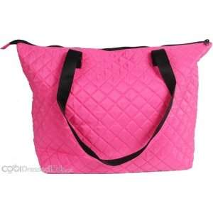 Personalized Hot Pink Quilted Shopper Tote/Diaper Bag: Baby
