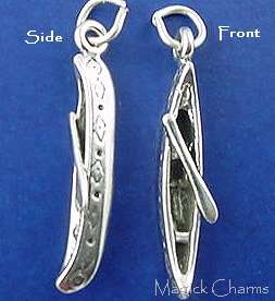 Sterling Silver CANOE with Paddle 3D Charm