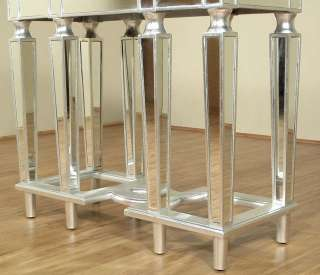 Distressed Silver Art Deco Mirrored Console Table