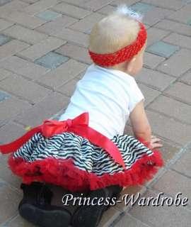 NewBorn Baby Girls Red Zebra Pettiskirt Party Skirt Dress Tutu 3 12