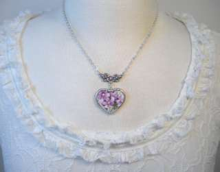VTG PURPLE VIOLET HEART CHARM PENDANT NECKLACE BROKEN CHINA JEWELRY