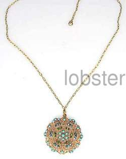 POPESCO GOLD FILIGREE NECKLACE w TURQUOISE & GREEN SWAROVSKI CRYSTALS