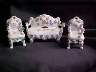 Vintage Miniature Furniture Couch Piano and Chairs Figurine