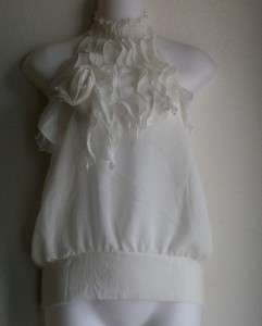 New~Adorable WHITE Ruffle Halter Top Blouse ~ S