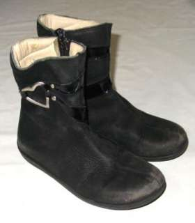 Girls ASTER Black Leather BOOTS rubber sole heart ~ 31 US 13