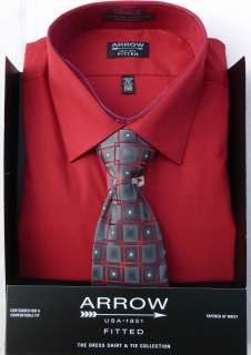 Dress Shirt and Tie Set   True Red Solid Color   MSRP $55