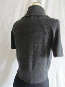 Ann Taylor LOFT Gray Cropped Cardigan Short Sleeve Bolero Jacket