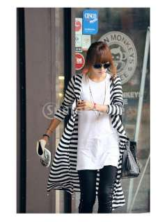 Womens Asymmetrical Long sleeved Long Cardigan Trench Coat Black White
