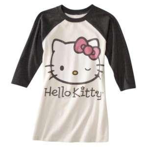 Womens HELLO KITTY Raglan Top Baseball Graphic T Shirt Tee BRAND NEW