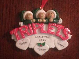 Personalized Baby Boy / Girl Triplets Christmas Ornament