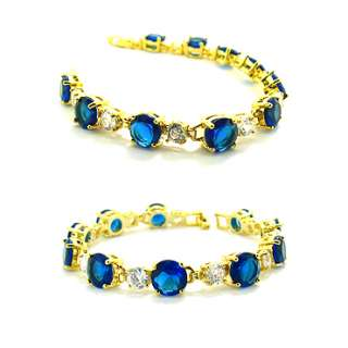 Christmas Gift JEWELRY FASHION JEWELRY BLUE SAPPHIRE YELLOW GP LADIES