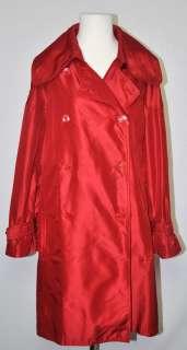 Womens Salvatore Ferragamo Red 100% Silk Trench Coat US 6 EU 42