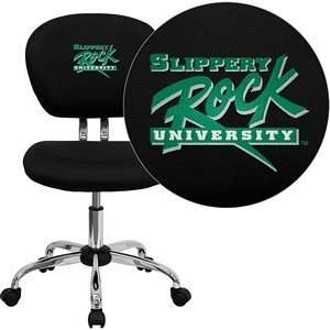 Rock University Embroidered Black Mesh Task Chair with Chrome Base