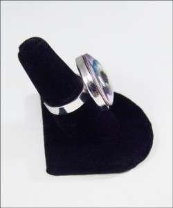 Marilyn Manson Heart Glass Sterling Silver Ring RR 246