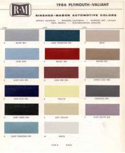 1966 PLYMOUTH PAINT COLOR SAMPLE CHIPS CARD OEM COLORS