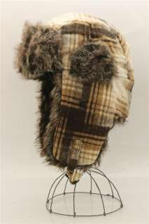 Plaid Bomber Aviator Trapper Trooper Ear Flap Fur Wool Russian Ski Hat