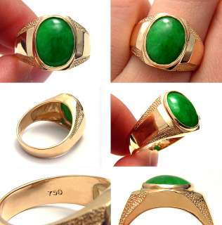 RARE VINTAGE GREEN EMERALD COLOR JADE JADEITE 18K SOLID GOLD MENS