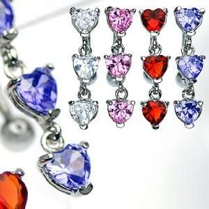 Fancy Top Down Heart Prong Setting Red Cubic Zircoinia Belly Rings