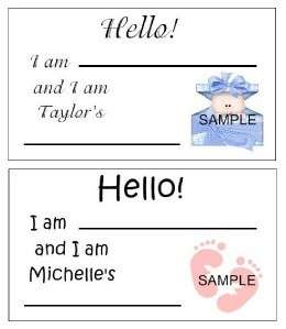 BABY SHOWER NAME TAGS FAVOR LABELS PERSONALIZED 200+DES