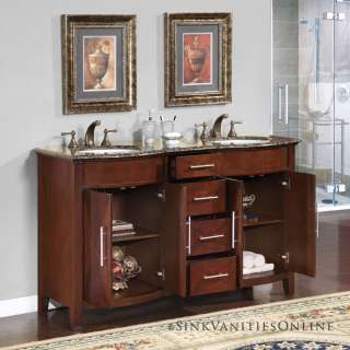 58 Cambridge   Baltic Brown Stone Top Double Bathroom Vanity White