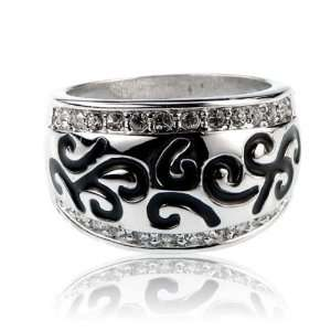 Designer Inspired Silver Crystal Fashion Jewelry Ring Size
