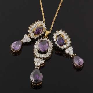 fashion party jewelry oval cut set purple amethyst pendant necklace