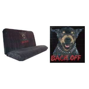 Car Truck SUV Rottweiler Back Off Print Rear Bench or Small Truck Seat