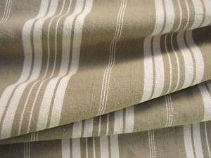 Antique french ticking fabric linen cotton khaki stripe