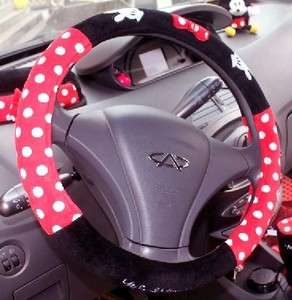 Minnie Mouse Red + Black car Dot Steering Wheel Holder Cover case M