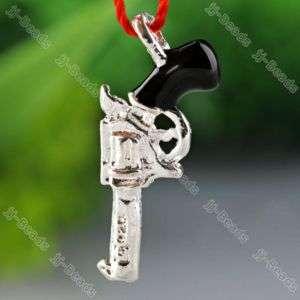 5x Silver Plated Enamel Gun Bead Jewelry Charm Pendant