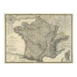 Carte Physique Et Routiere De La France, De La Suisse, Giclee: Home
