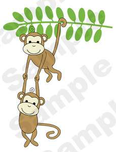 MONKEYS MURAL FOR JUNGLE THEME KIDS NURSERY BABY WALL STICKERS DECALS