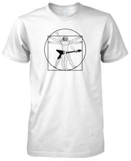 Mens American Apparel Da Vinci Vitruvian Guitar Man Music T Shirt Tee
