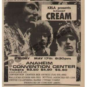 Cream Eric Clapton Newspaper Concert Promo Ad 1968: Home