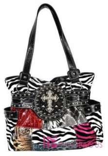 Western Patent Big Crystal Zebra ANGEL WING CROSS Tote Bag Handbag