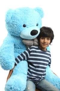 GIANT BLUE LIFE SIZE STUFFED CUTE PLUSH big TEDDY BEAR