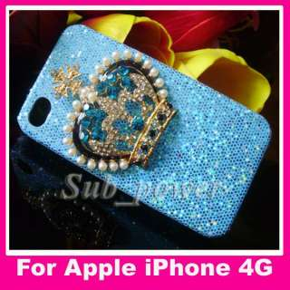 3D Blue Rhinestone big metal Crown Bling Crystal Case cover for iPhone
