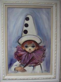 ORIGINAL OZZ FRANCA BIG EYE GIRL OIL PAINTING ON CANVAS 1960S 31 X