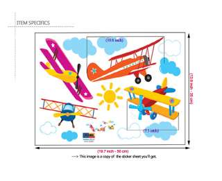 AIRPLANES Nersery Kids Room Decor Wall Sticker Decals