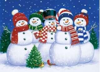 SEASONS GREETINGS JIGSAW PUZZLE FIVE SNOWMEN FRIENDS